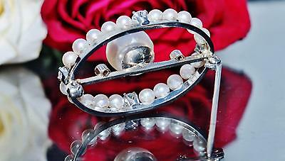 1930's 14k white gold pin brooch 9mm pearl & 0.50ct diamond antique handmad 5.9g 4