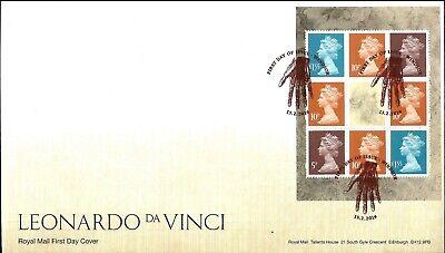 Gb 2019 Fdc Leonardo Da Vinci 500 Stamps Fdc Psb X 4 Fdc Vfu Very Fine Used