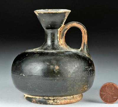 Greek Apulian Black-Glazed Squat Lekythos Lot 24A
