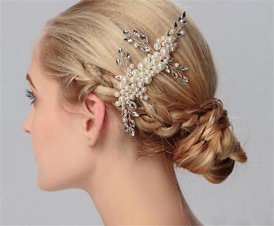 Perle Matrimonio Capelli Pettine Cristallo da sposa vestito Accessori Oro Floreale Copricapo