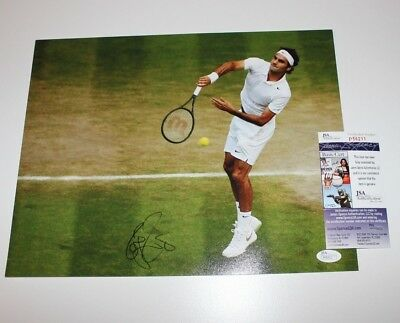 Roger Federer Signed Authentic 11X14 Photo Jsa Coa Wimbledon Champ Grand Slam 2