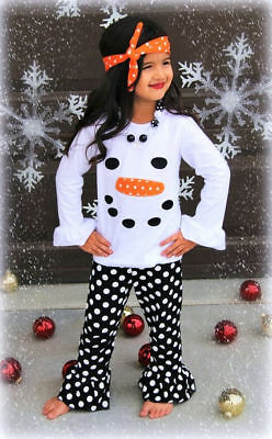 Toddler Kids Girls Christmas Snowman Olaf Tops Dot Pants Outfits Set Clothes 3