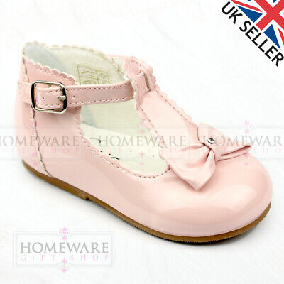 Baby Girl Shoes Spanish Style T-Bar Bow Patent Shoe Uk 2-6 White Red Camel Pink 3