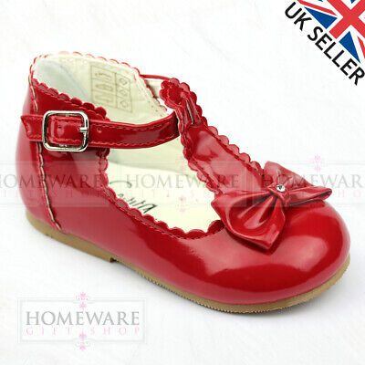 Baby Girl Shoes Spanish Style T-Bar Bow Patent Shoe Uk 2-6 White Red Camel Pink 5