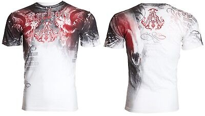 Archaic by Affliction Short Sleeve T-Shirt Mens NIGHTWATCHER White Red S-3XL NWT 2