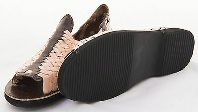 9b8f93e4004b ... Men s OPEN Toe Huarache Sandals BROWN NATURAL STRIPED Mexican Leather  Huaraches 2