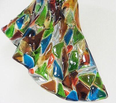 Vintage Industrial Chandelier Fused Glass Shades Horse Evener Wood Cast Iron 2