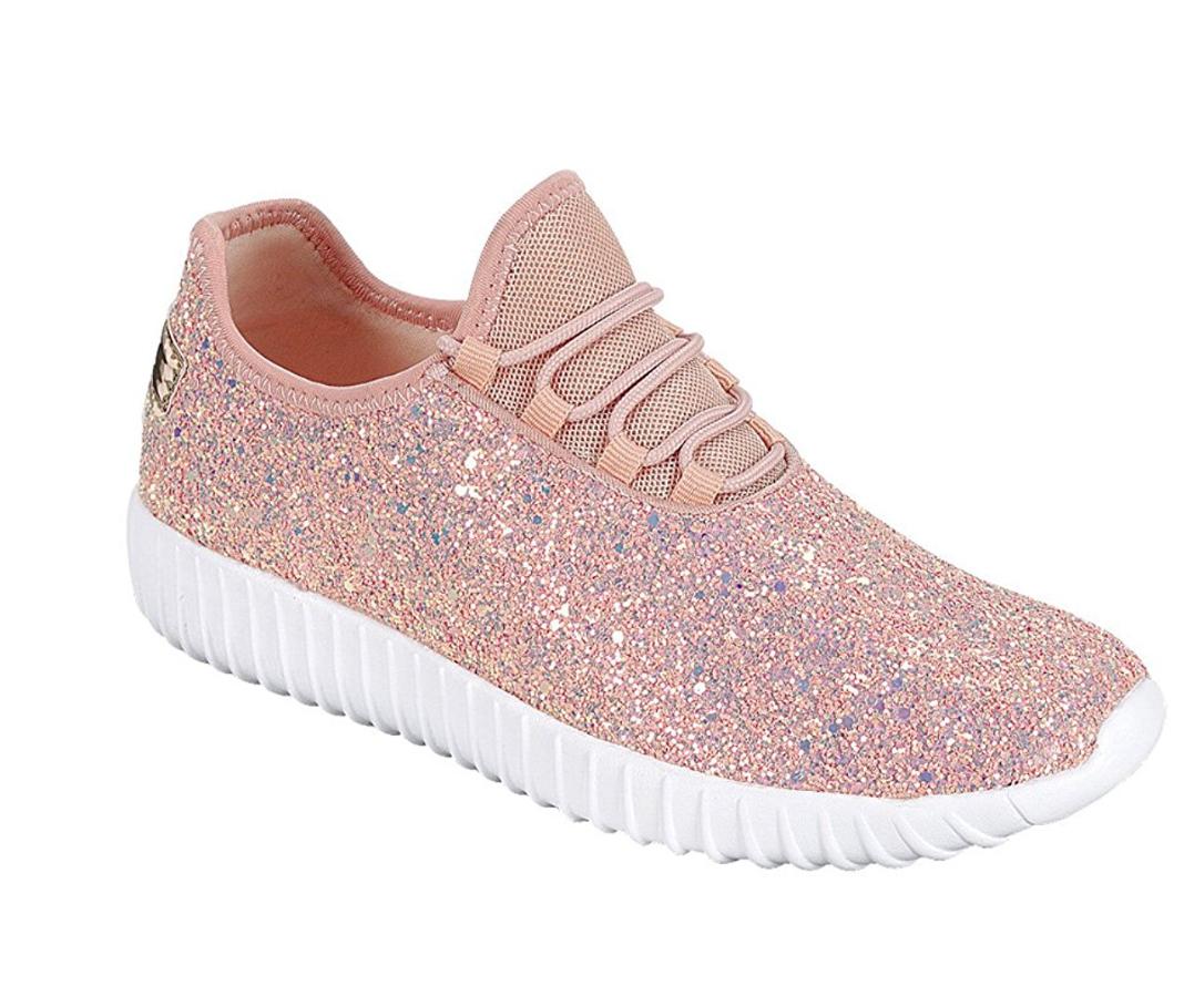 Girls Lightweight Glitter-18K Metallic-15K Lace Up Sneaker Link Remy 15K /& 18K