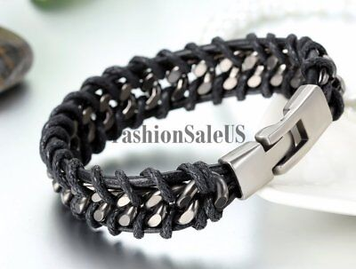 Men's Unique Leather Stainless Steel Braided Bracelet Bangle Cuff Metal Buckle 3