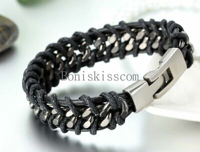 Black Braided Leather Silver Stainless Steel Cuban Chain Men's Bracelet Bangle 3
