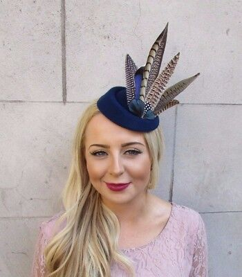 Navy Blue Brown Pheasant Feather Pillbox Hat Hair Fascinator Races Clip Vtg 4016 2