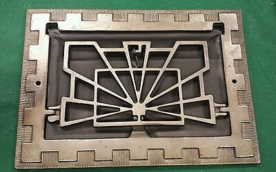 Fancy Vintage Cast Iron floor wall heat grate no louvers Art Deco pattern (#2) 2