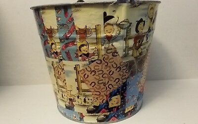 Galvanized Metal Large Bucket Pail - Vintage Childrens Country Western Theme