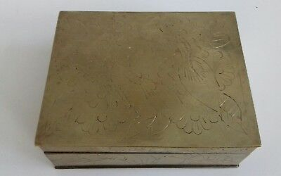 3 Antique Chinese Brass Hand Engraved Cigarette Box. Symbols. 5