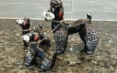 VINTAGE WALLS BLACK POODLE TRIO SET DOG Porcelain Figurine Made in Japan