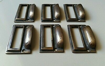 "6 tarnished brass File Apothecary drawer pull Handles 2 3/4"" Label holders #F1 2"