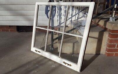 Architectural Salvage ~ 6 PANE OLD WINDOW SASH FRAME PINTEREST with HARDWARE 2