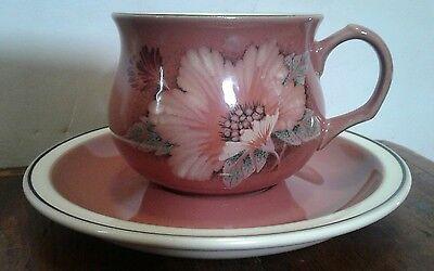 Denby Damask Teacup and Saucer Set of 6 Pink Floral 6