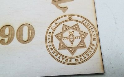 Wooden Ouija Board & Planchette w/ Aleister Crowley Symbols Engraved On Wood 4