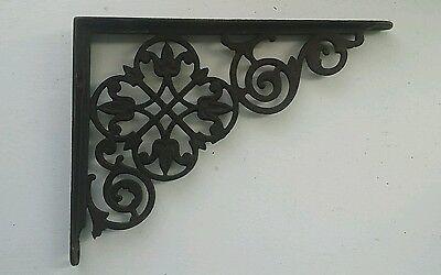 "Antique Victorian Ornate Cast Iron Shelf Brackets - Lace Tulip -Medium 8"" x 6"" 2"