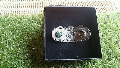 Roman Bronze Silverered beautiful ornate mount with green stone museum quality 4