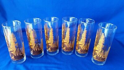 "6-VINTAGE NAUTICAL THEMED 6-1/2""  SWANKY SWIGS /TOM COLLINS GLASSES☆Excellent ☆"
