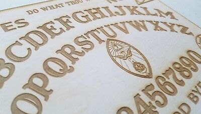 Wooden Ouija Board & Planchette w/ Aleister Crowley Symbols Engraved On Wood 7