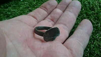 Roman Bronze ring professionaly cleaned on outside in showing patina wearable 3