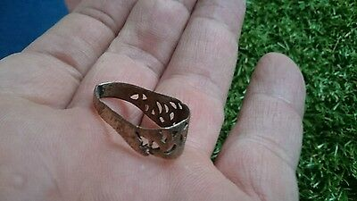 Roman Bronze bent ring professionaly cleaned on outside in showing patina f/m Uk 3