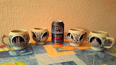 Set De Cuatro Jarras De Cerveza Alemana Vintage