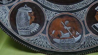 "Antique 19 1/2"" Inlaid Brass, Copper ,silver, Enamel Egyptian Queen Art Plaque"