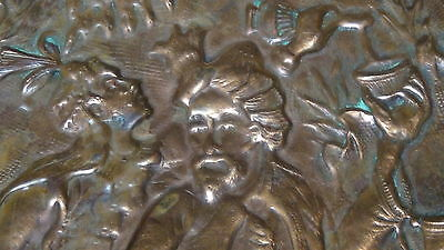 Antique 18C Islamic Copper High Relief Hand Hammered Charger ,bowl 6