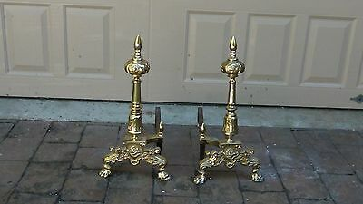 PAIR ANTIQUE 19c FRENCH GILT ORNATE BRASS URN TOP FIREPLACE ANDIRONS 5