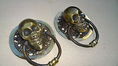 """2 SKULL head ring pull Handle solid BRASS 3.1/2"""" day of the dead cabinet door B 2"""
