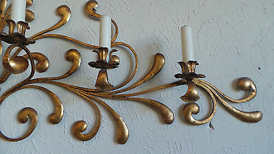Antique Original Gilded Gold & Metal  Wall Sconce Candle Holders 6
