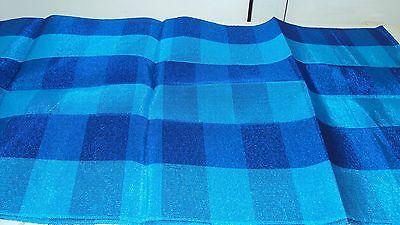 Nigerian Aso Oke Gele (Headtie)- Royal & Turquoise Blue Cubed Pattern 1 Piece 2