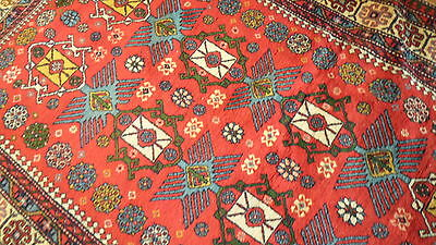 Antique Authentic 100% Wool Hand Made Knotted Vintage Kazak Rug 7