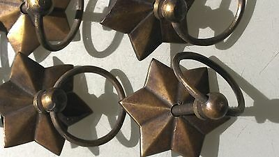 """24 star handle KNOB aged old solid Brass PULL ring knob kitchen 2 """" heavy 3"""