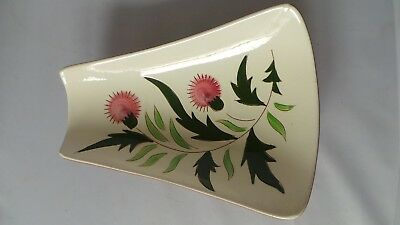 """STANGL THISTLE 11"""" Trapezoid Relish Tray Dish Vtg Mid-Century Pink Green PRETTY! 5"""