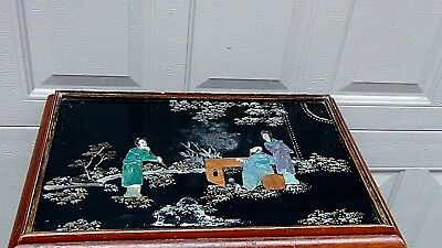 Set Of 4 Antique Chinese Painting & Stone,jade Imlayed Nesting Tables,glass Top 5