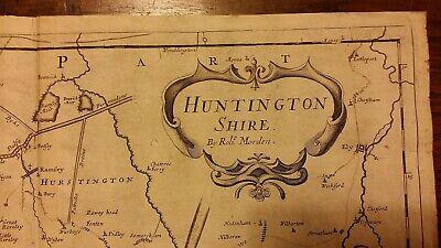 1695 / 1722 Antique Map Huntingtonshire - Robert Morden - Camden's Britannia 2