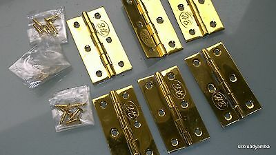 "6 small hinges vintage style polished solid Brass DOOR light restoration 2.1/2"" 5"