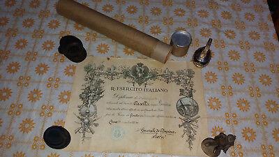 CUNEO-BRA-Diploma-FIORETTO-ESERCITO-AUTOGRAFO-GENERALE GROSSI-WW2-WORLD-ITALIA 4