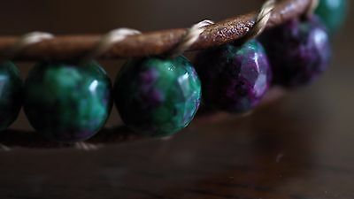 Ruby Zoisite Natural Crystal Beaded Bracelet Medley Positive Healing Ideal Gift 9