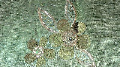 Nigerian Aso Oke Gele (Headtie) Apple Green with Green & Gold Flowers 1 Piece 4