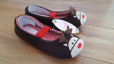 PETER ALEXANDER PJS Girls Reindeer Slippers Sz XXS,XS,S,M BNWT PJ Christmas Xmas 3