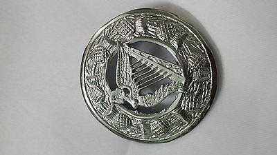 """Men's Kilt Fly Plaid Brooch Celtic Irish Harp Chrome Finish 3""""/Kilt Brooch & Pin 2"""