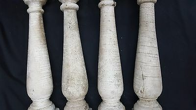 Architectural Salvage Wooden Spindle Balusters Set of Four 4