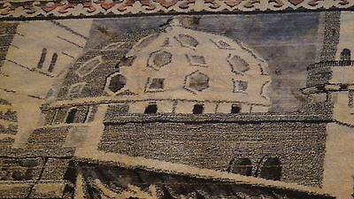 "Antique Persian Islamic Silk Rug Street Market Scene 49"" X 77"" 9"