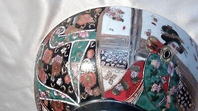 A Vintage Handpainted , Gilded & Decorated , Satsuma , Japanese Porcelain Bowl 9